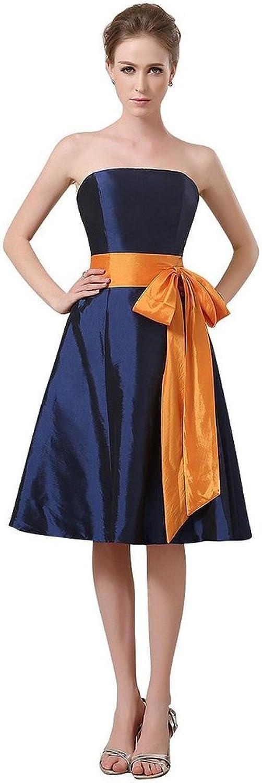 JoyVany Strapless Taffeta Bridesmaid Dress orange Sash 2016 Short Pageant Dress