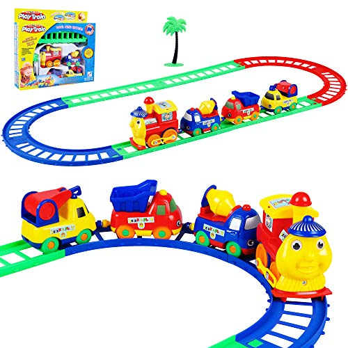 Car Track Toy,Electric Train Set for Kids,Include 8 Tracks 4 Cars and a Tree,Toddler Toys,Gift for Boys Girls