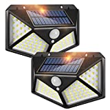 Solar Lights Outdoor, 100 LEDs Wireless Motion Sensor Light [3 Working Mode], IP65 Waterproof Wall Light Easy-to-Install Security Lights for Outdoor Garden, Patio, Yard, Deck, Garage, Fence 2 Pack