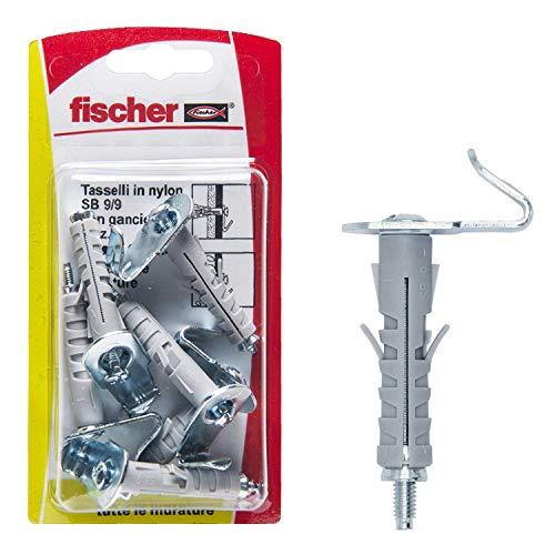 FISCHER 2989017 6 Tasselli SB 9 con Gancio Piatto, Universali per Il Fissaggio di Lampade, Specchi, Mobili su Muro e Cemento, 504449, Grigio
