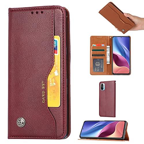 SZCINSEN Funda de piel tipo cartera para Xiaomi Redmi K40/K40 Pro Funda de piel con ranura para tarjeta Kickstand a prueba de golpes Carcasa interior TPU suave (color vino tinto)