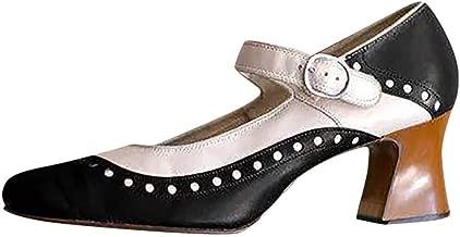 haoricu Women's Plus Size Sandal Retro Rome Bow Buckle Strap Thick Heel Shoes Party Wedding Sandal