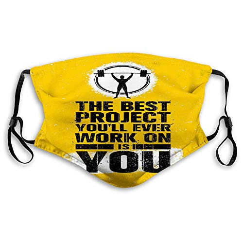 The Best Project is You Phrase with Weightlifter Fit Body,Reusable Face Mask Balaclava Washable Outdoor Nose Mouth Cover for Men and Women