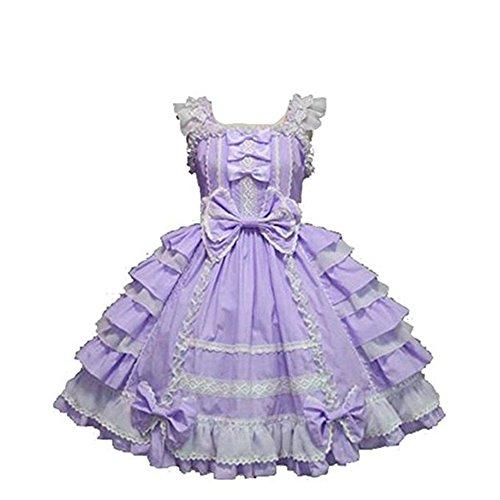 Smiling Angel Girls Sweet Lolita Dress Princess Lace Court Skirts Cosplay Costumes Purple, Small