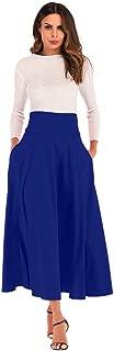CHIDY A-Line Skirt for Women High Waist Pleated Long Skirt Front Slit Belted Maxi Skirt Office Wear Business Attire