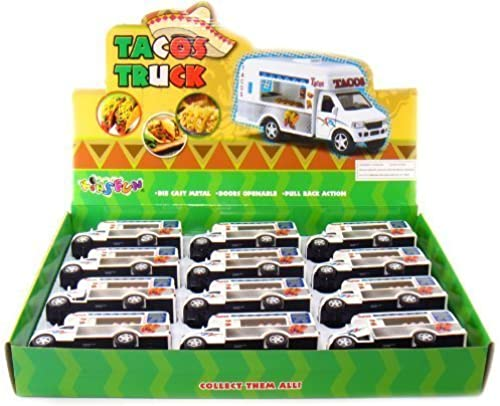 12 pcs in Box  5  Die Cast Tacos Truck, Pull Back Action (Weiß) by KinsFun