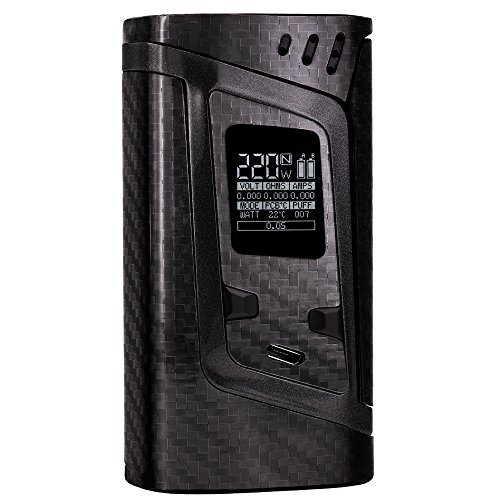 PIMP MY VAPE - Custom Protective Vinyl Decal for ecig (e-cigarette) SMOK ALIEN 220W TC Cover - Best quality skin - Second life to your box mod, wrap and enjoy + BONUS STICKER (Carbon 5D Black)