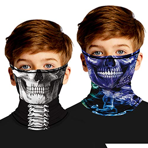 Ainuno Skull Mask Kids Cooling Neck Gaiter with Ear Loops Halloween Cosplay Mask Skeleton Printed Cool Mask for Boys Girls Funny Face Cover Scarf Mask Wrap Little 3 4 5 6 Years,Skull Mask M