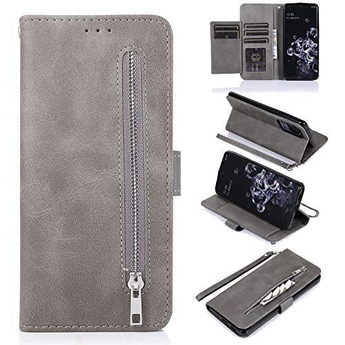 EYZUTAK Schutzhülle für Samsung Galaxy S21 5G, 5 Kartenfächer, Magnetverschluss, Reißverschluss, Handtasche, PU-Leder, Klappetui, mit Handschlaufe, TPU-Ständer, Grau