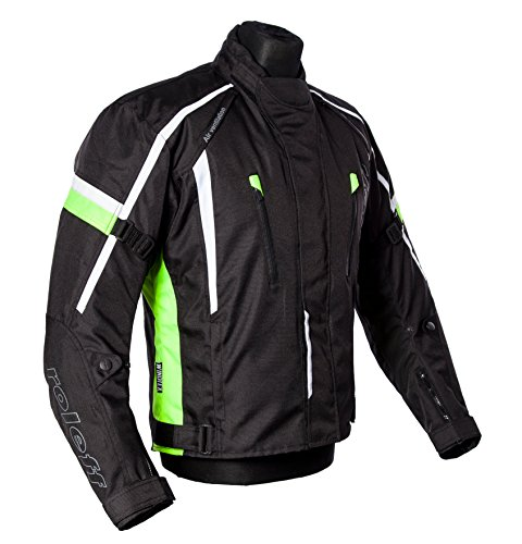 Schwarze, neon gelbe, kurze Motorradjacke mit Protektoren, Belüftungssystem, Klimamembrane und herausnehmbarem Thermofutter