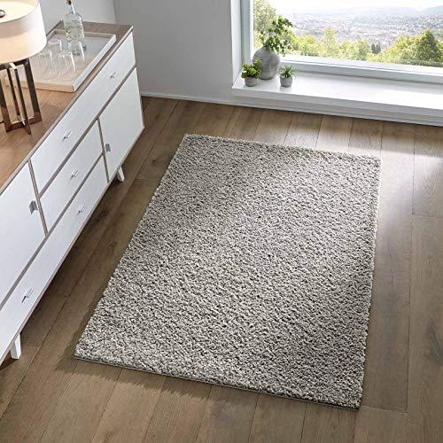 Taracarpet Shaggy Teppich Wohnzimmer Schlafzimmer Kinderzimmer Hochflor Langflor Teppiche modern grau 080x150 cm