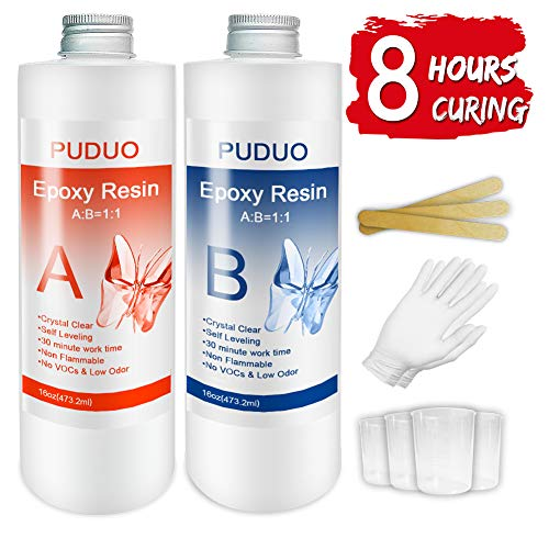 Epoxy Resin Casting and Coating Kit for Art, Jewelry, Crafts - 32 Oz | Bonus 4 pcs Graduated Cups, 3pcs Sticks, 1 Pair Rubber Gloves by Puduo
