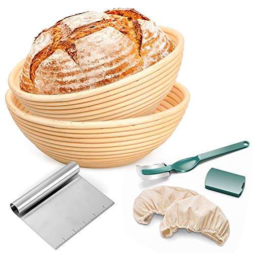 Round Benetton Bread Proofing Basket - Package of 2-French type Artisan Sourdough Bread Bakery Container-9 inch and 10 inch bread baskets with Bread Lame dough scraper and washable linen cloth.