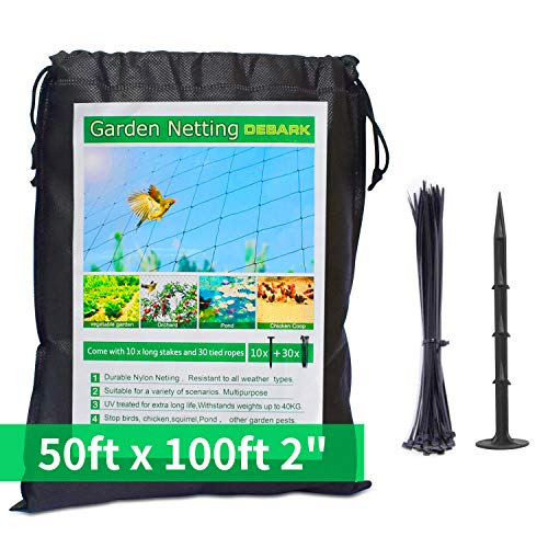 Bird Netting [Heavy Duty] 50' x 100' with 2' Square - Nylon Bird Net Protect Fruit Tree, Plant and Vegetables Against Birds, Deer and Other Pests, Netting as Fruit Net, Aviary Netting for Farm,Orchard