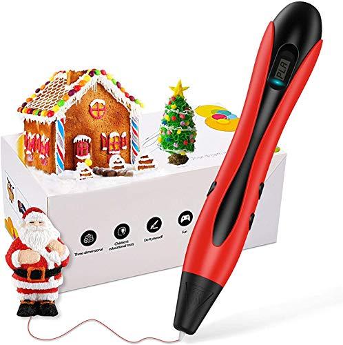 AUZZO HOME 3D Pen, 3D-Druckstift mit 20 Fuß PLA-Filament DIY 3D-Zeichenstift, Geschwindigkeits- und Temperaturregelung, Beste Geburtstagsgeschenke für Kinder und Erwachsene,Rot