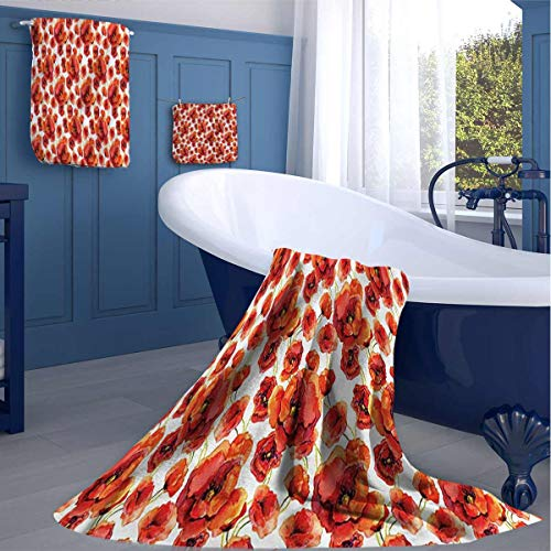 HOMEDECORATIONS Floral Kitchen Cleaning Towels Red Poppy Flowers Artsy Toiletries washcloths for Best Friends