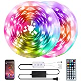QZYL 50 Feet Led Strip Lights Home,Led Lights for Bedroom,Music Sync Color Changing Flexible Timing Rope Lights,44 Key Remote App Control RGB Tape Light DIY Colors Luces for Bedroom Party Decoration