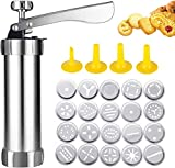 MEIJUBOL Cookie Press Stainless Steel Baking Kit Biscuit Gun with 20 Cookie Discs and 4 Icing Tips