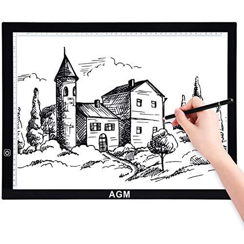 AGM A3 Leuchttablett,Leuchttisch,Leuchtkasten,Ultra-Slim,Taktile Steuerung und Einstellbare Helligkeit mit USB-Kabel für Zeichnung Skizze Tablett Architektur Kalligraphie
