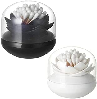 HomDSim 2 Pack Lotus Cotton Swab Holder,Cotton Bud Small Q-Tips Toothpicks Brushes Holder Box Case Storage Organizer Jar with Clear Lid Dustproof Cover Black + White
