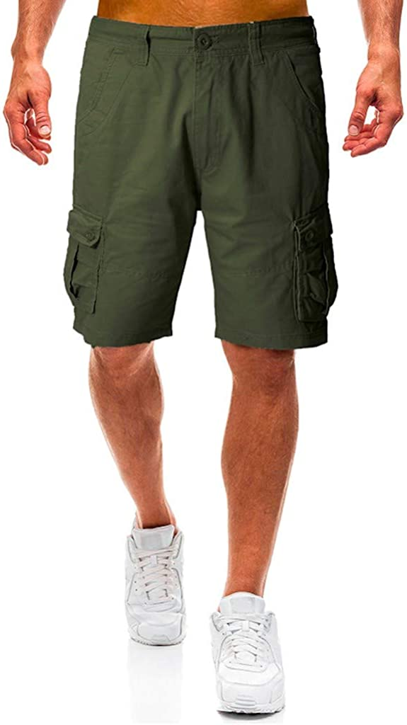 MODOQO Cargo Shorts for Men,Summer Big Tall Loose Cotton Tooling Shorts with Multi-Pocket