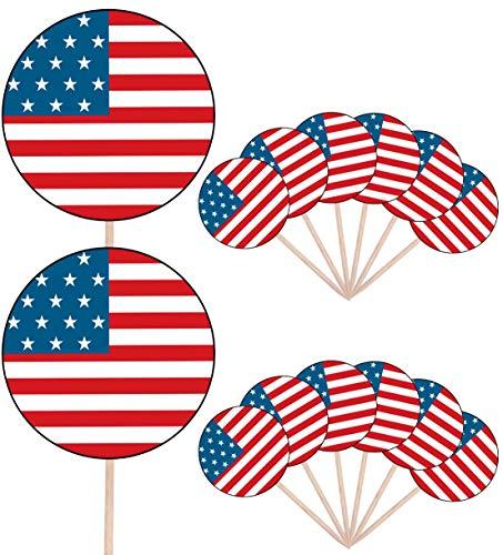 Verenigde Staten Vlag Partij Voedsel Cake Cupcakes Picks Sticks Vlaggen Opstaan Decoraties Toppers (Pack van 14)