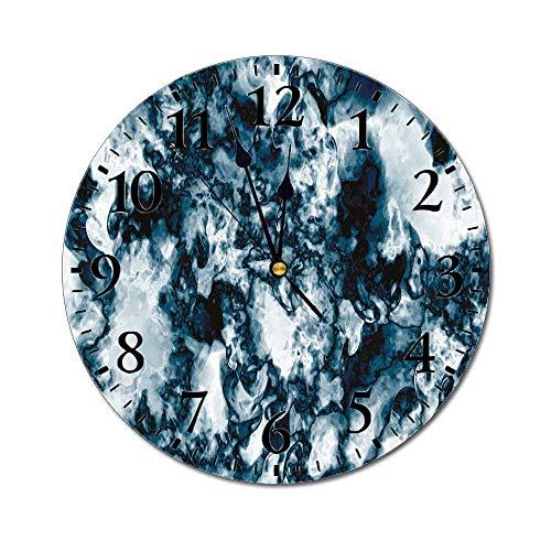AEMAPE Reloj de Pared Redondo de mármol, patrón de Naturaleza de Roca de ónix de Piedras Preciosas inusuales con Efectos de Pincel Vintage Reloj con Pilas