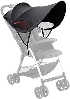[Yoksun] ベビーカー 日よけカバー サンシェード 防水 防塵 風よけ 通気性 熱中症対策 紫外線対策 UVカット99% コンパクト 収納簡単 ブラック