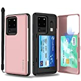 SKINU Galaxy S20 Plus Case Wallet Black with Hidden Credit Card Holder ID Slot Hard Cover, Strap, Mirror & USB Adapter for Samsung Galaxy S20 Plus / S20 Plus 5G (2020) - Rose Gold