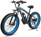 RDJM Bici electrica 26 Pulgadas de Nieve Bicicletas, 48V 1000W de Bicicletas de montaña eléctrica, 17.5AH Litio ciclomotor, 4,0 Fat Tire Bike/Hard Tail Bicicleta/Adulto Off-Road Hombres y Mujeres