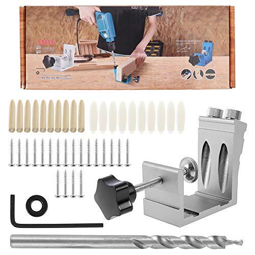Plantilla de taladro de bolsillo de trabajo de madera, guía de perforación de madera, plantilla de taladro oblicua con puntas de taladro de 15 °, kit de taladro para trabajo de madera (plata)
