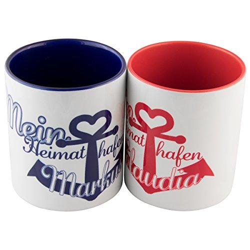 Tassen Set – Heimathafen (1 Rot - 1 Blau): persönliche Kaffeetassen für Freundin/Freund oder Partner/Partnerin – 2 Keramik Becher als Geschenkset mit Namen personalisiert