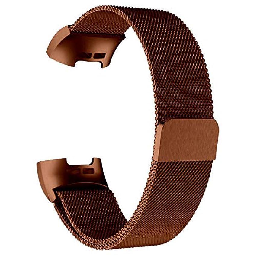 家族マットレス劇場Ququack Fitbit Charge 3ストラップ交換用ミラネースステンレススチール磁気バックル用のミラノ磁気メタルバンド付きスマートウォッチ