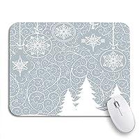 NINEHASA 可愛いマウスパッド ブルースノーフレーク美しいクリスマスツリークリスマススワール冬ホワイト滑り止めゴムバッキングコンピュータマウスパッド用ノートブックマウスマット
