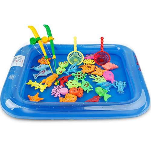 QueenHome Juguete magnético de pesca para niños, juego de pesca flotante, juguete de baño para niños, juguete magnético para piscina hinchable, juego para la formación temprana, 26 unidades