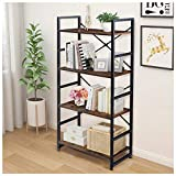 Haton Bookshelf, Wood Bookcase with Metal Frames, Industrial Storage Shelf Organizer, Modern Tall Display Shelf Racks Open Wide Standing Shelving Unit for Home Office Study 62-inch (Brown, 4 Tier)