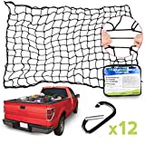 moveland 4'x6' Heavy Duty Pickup Truck Cargo Bungee Net Stretches to 8'x12' with Premium Carabiners Clips - 4x4 Inch Mesh Holes Truck Bed Cargo Net Small and Large Loads Tighter