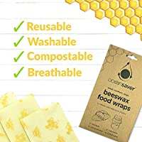 3pk Beeswax Wraps by Ocean Saver | Assorted Sizes | Eco-Friendly, Reusable, Washable Food Wraps