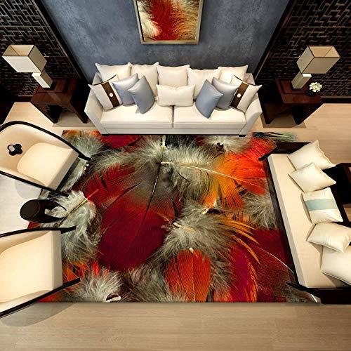 Simmia Home Alfombra Pelo Corto Moderna Pluma de pájaro Gris Blanco Naranja Rugs para Interior al Aire Libre Lavable Antideslizante, Tamaño: 120 * 160CM