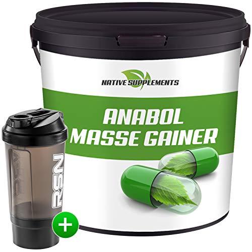 Native Supplements Anabol Masse Gainer 3,0 KG - XXL-Bulk - Whey Proteinpulver mit starken Aminosäuren + Eiweiß Shaker mit Pulverfach - Sonderangebot Eiweißpulver (Erdbeere)