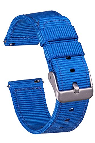 GadgetWraps 14mm Nylon Watch Band with Quick Release Pins – Compatible with Pebble, Fossil, Skagen, Wristology – 14mm Nylon Watch Band (Electric Blue, 14mm)