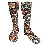 Calcetines de invierno con diseño de mandala india Talavera mexicana, suaves, cálidos, cómodos, informales.