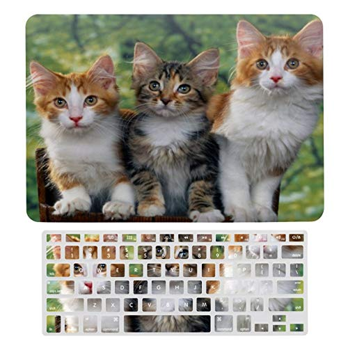 MacBook Air 13 Inch Case(A1369 & A1466, Older Version 2010-2017 Release), Plastic Hard Protective Laptop Case Shell with Keyboard Cover, 3 Cute Kittens with Nature Backgrounds