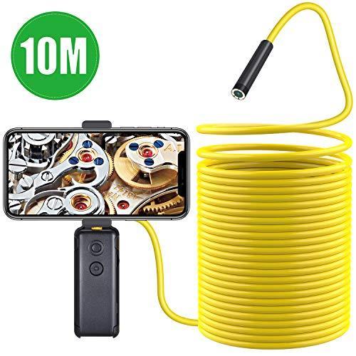 Kriogor Wireless Endoscopios WiFi 1200P HD Impermeable Cámara Inspección de Mano Semi Rígido Cable Boroscopio Compatible con Smart Phone/Tablet/Laptop/PC/Windows(10M)