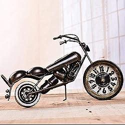 UWY Mantel Clock, Retro Motorcycle Clock Living Room Bedroom Mute Table Pendulum 32 13.5 18cm Mantel Clocks