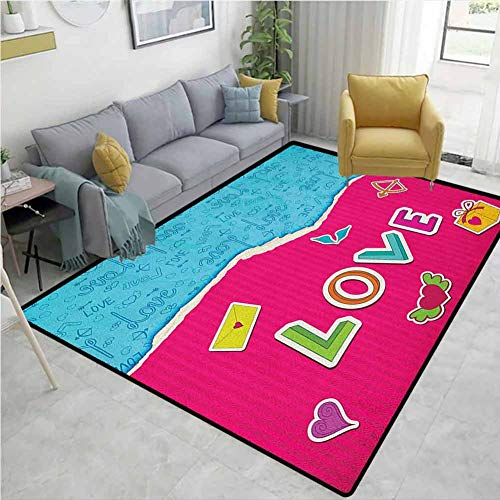 New YucouHome Love Novelty Girls Bedroom Rug, Valentine`s Day Themed Composition with Torn Paper Eff...
