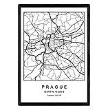 Nacnic Lame Carte de la Ville de Prague Style Nordique Noir et Blanc. Affiche de Format A3 Papier imprimé No 250 GR. Peintures, estampes et Affiches pour Le Salon et Chambre à Coucher