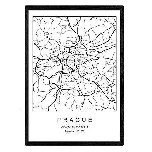 Nacnic Lámina Mapa de la Ciudad Prague Estilo nordico en Blanco y Negro. Poster tamaño A3 Sin Marco Impreso Papel 250 gr. Cuadros, láminas y Posters para Salon y Dormitorio