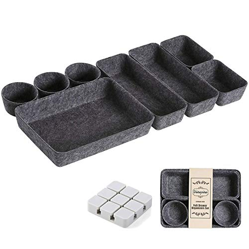 Drawer Organizer Trays Desk Felt Drawer Organizers Bins Set of 8 Foldable Drawer Dividers Separators Storage Container for Makeup Jewelries Utensils in Bedroom Dresser Office and Kitchen