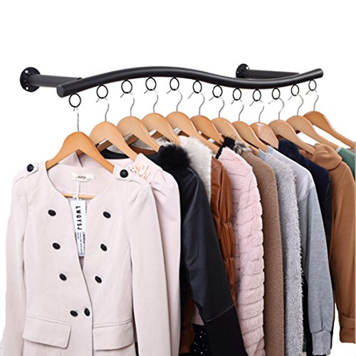 YIFAN Wall Mounted Clothes Hanging System, Iron Clothing Hanger Rack for Living Room Bedroom Laundry Room - Black